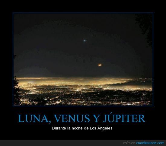 ciudad,iluminación,júpiter,Los Angeles,luna,noche,venus