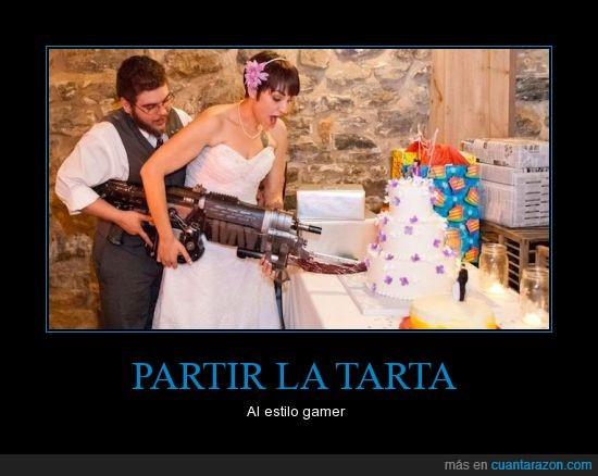 boda,gamer,gears of war,GoW,lancer retro,tarta