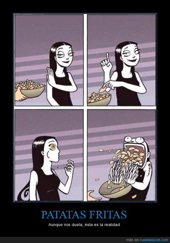 comer,educadamente,engullir,Patatas fritas,una