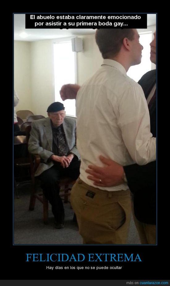 abuelo,boda,extrema,felicidad,ironia,ocultar