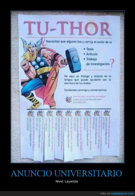 anuncio,corregir,filologo,Thor,tutor,universidad