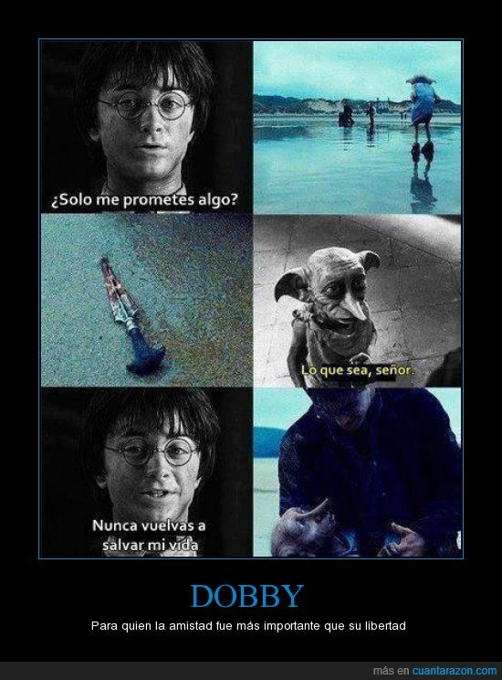 :(,dobby,elfo libre,harry potter,lloré como nunca cuando murió