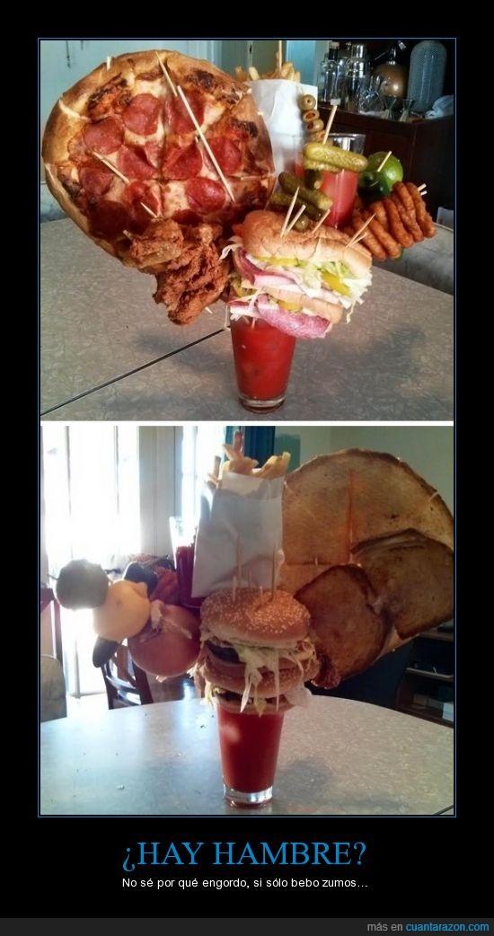 banderilla,bueno pepinacos,fruta,hamburguesa,pepinillos,pizza,pollo frito,zumito,zumo