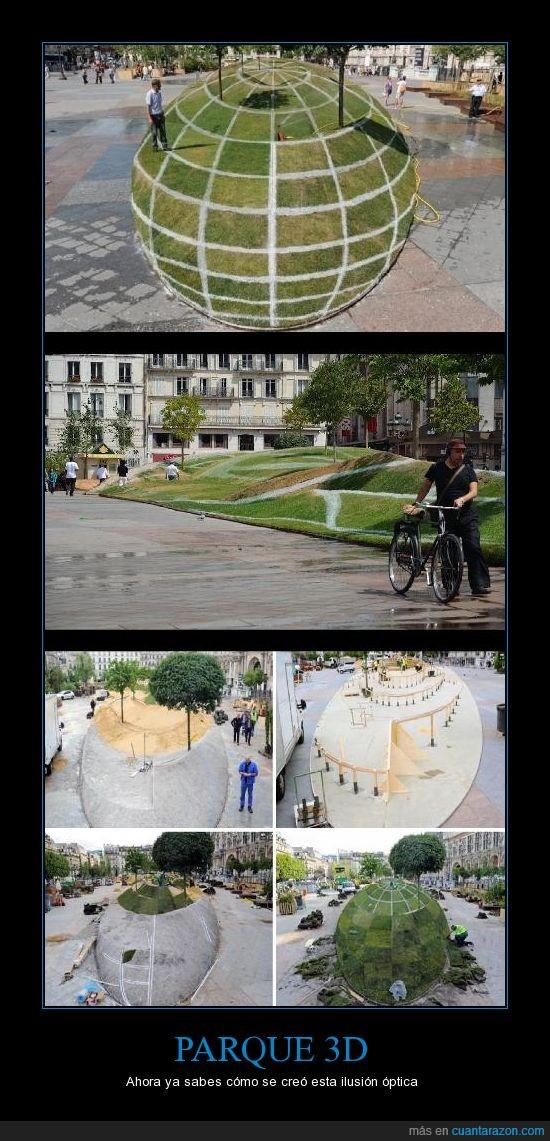 3D,Francia,François Abelanet,ilusión óptica,parece de mentira,París,Parque,Quien necesita photoshop