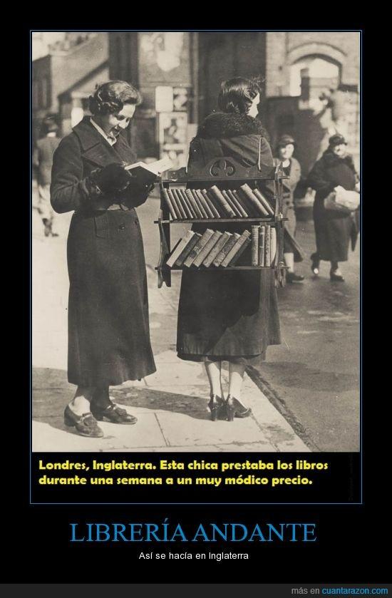 andar,biblioteca,Inglaterra,librería andante,libros,prestar