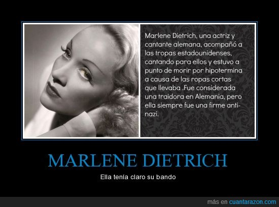 actriz,alemania,curiosidades,estados unidos,marlene dietrch,segunda guerra mundial,traidora