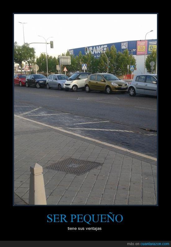 aparcar,coche,estrecho,hueco,mini,pequeño,smart,traves