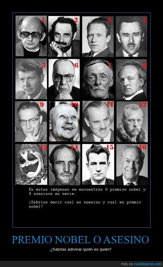 asesinos,el 13 es premio nobel seguro,la cara es el espejo del alma,premio nobel