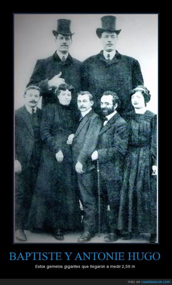 altura,Antonie,Baptiste,gemelos,gente normal que parece hobbits,gigante,Gigantes,Hugo,metros