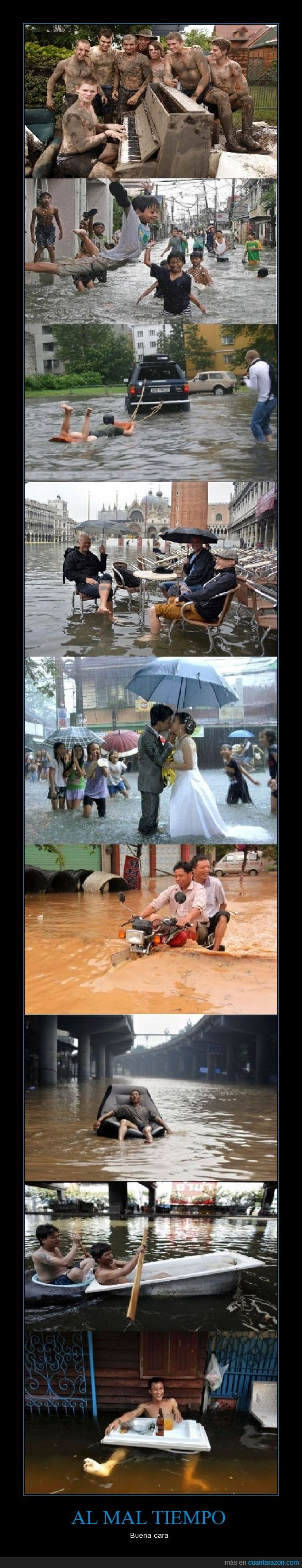 agua mojada,camioneta,chinos?,felices,inundacion,lluvia,mal tiempo,mas lluvia