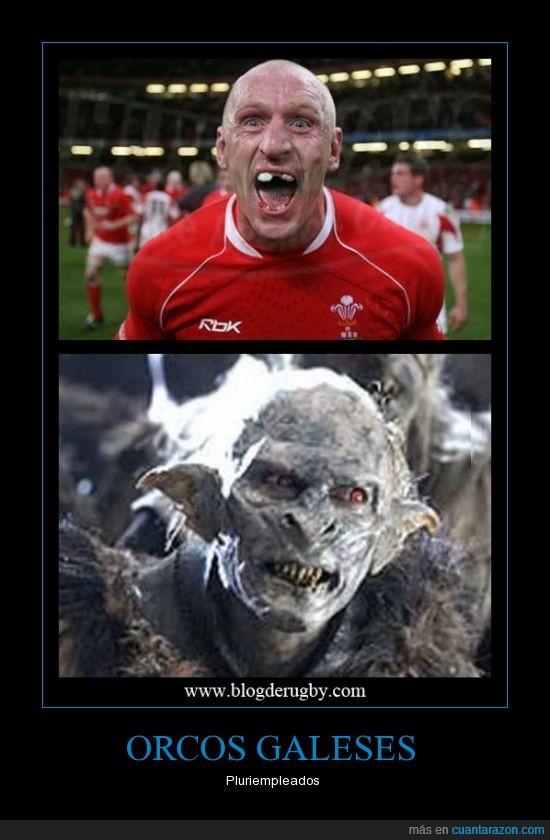 cara,dientes,feo,gales,jugador,orco,rugby