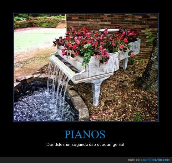 bella vista,casacada,flores,hermosura,piano,segundo uso