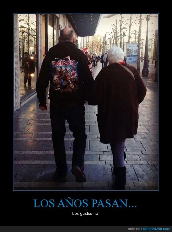 ancianos,heavy metal,Iron Maiden,pareja,rock
