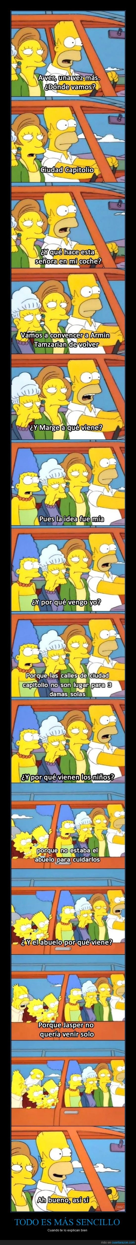 abuelo,armin tamzarian,coche,homer,jasper,los simpson,marge,seymour skinner,todos