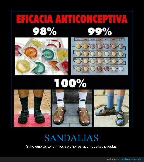 antibaby,anticonceptivo,anticonceptivos,calcetines,Dios lleva sandalias por eso no se come un rosco,hijo,padre,pastillas,sandalias