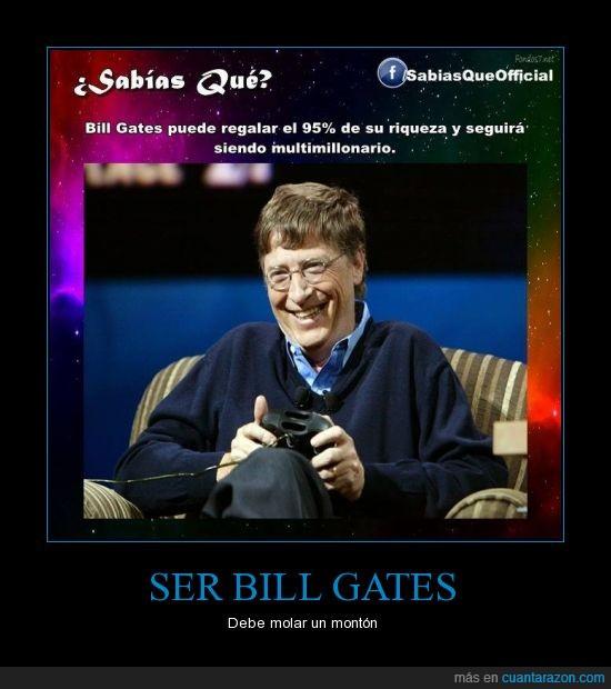 bill gates,dinero por doquier,el 95% de su dinero,multimillonario,riqueza