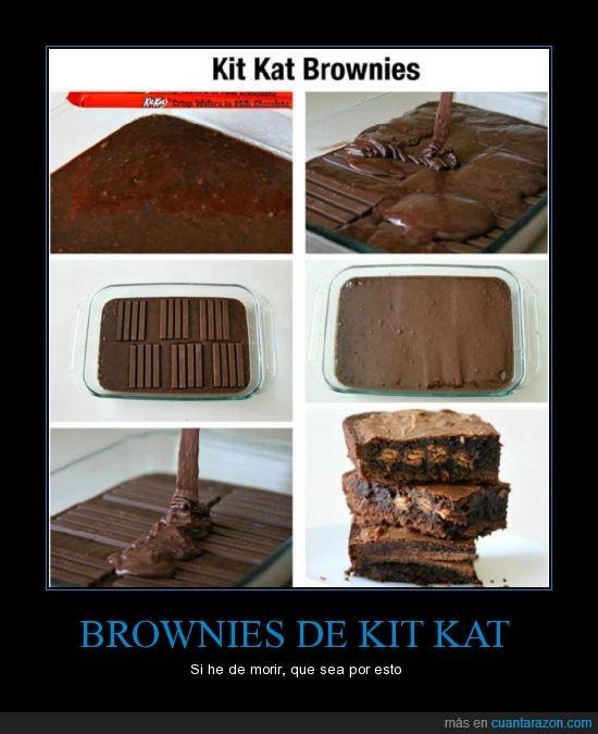 bizcocho,brownie,chocolate,cocinar,delicioso,kit kat,kit-kat,kitkat,muerte por chocolate,preparar,receta