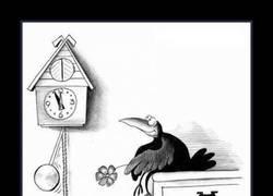 Enlace a Éste cuervo está enamorado del cucú del reloj