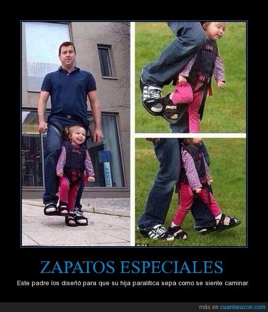 buen padre,caminar,felicidad,mover,niña,paralitica,sonrisa,zapatos