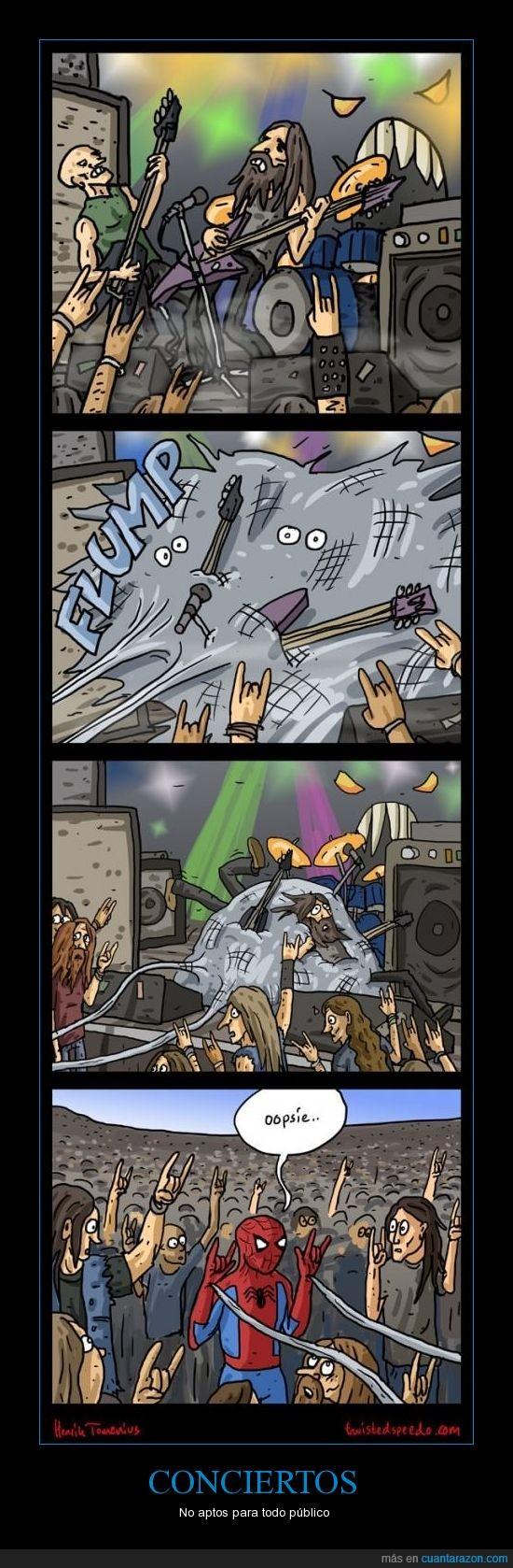 concierto,cuernos,manos,rock,símbolo,spiderman,telaraña