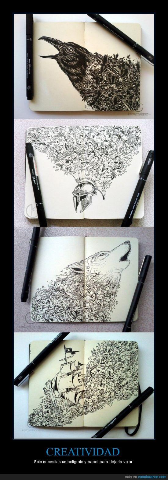 arte,bolígrafo,creatividad,dedicación,dibujo,diseño,moleskine,volar