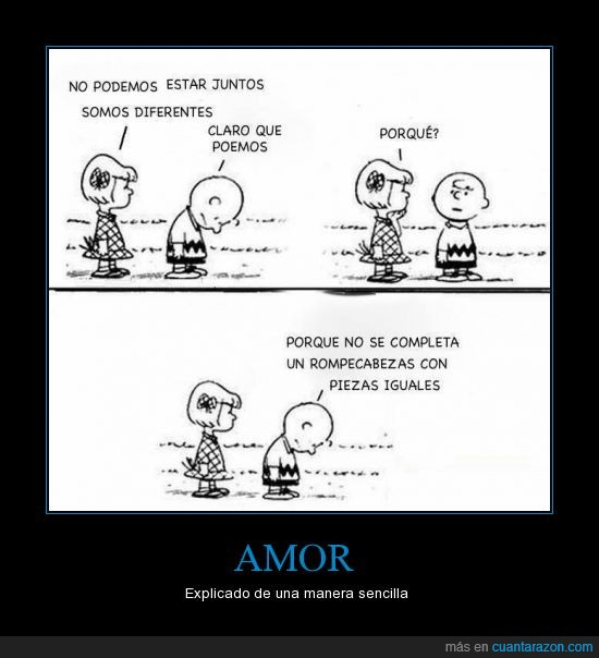 amor,charlie brown,charly brown,diferente,igual,pieza,puzzle