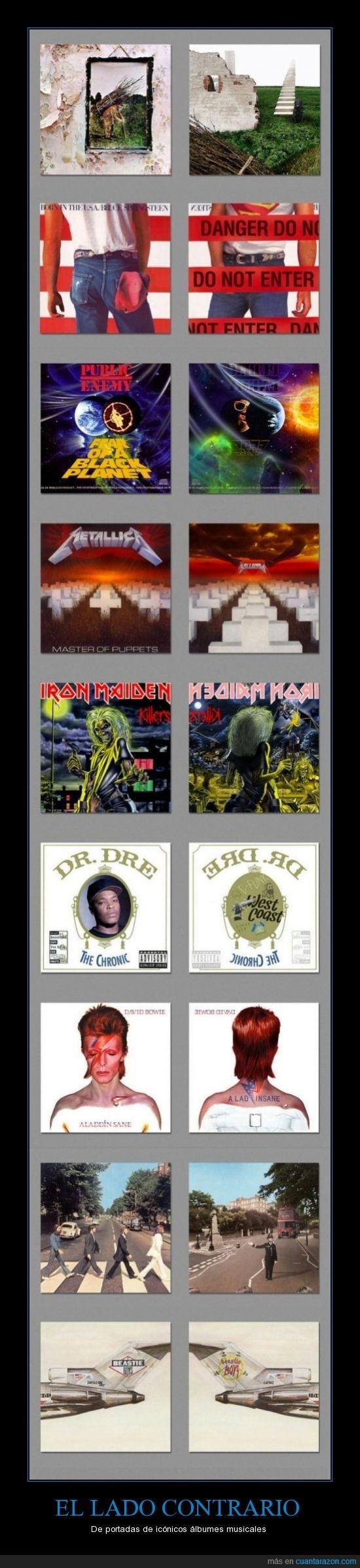 album,Beastie Boys,Bruce Springsteen,contrario,David Bowie,Dr Dre,Iron Maiden,lado,Led Zeppelin,Metallica,musica,Nirvana,Public Enemy,revés,The Beatles,The Strokes