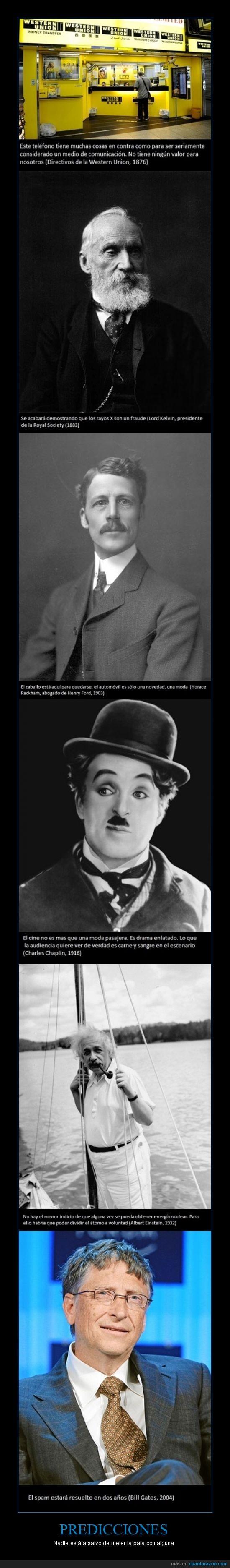 Albert Einstein,Bill Gates,Charles Chaplin,cine,coche,fail,fallo,Henry Ford,Horacke Rackham,Lord Kelvin,nuclear,predicciones,rayos X,spam,teléfono,vaticinios,visionarios,Western Union