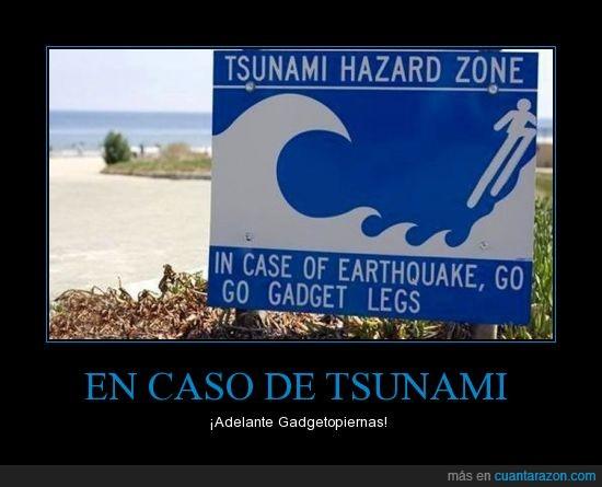 amor de madre,inspector gadget,ola,saltar,señal,tsunami