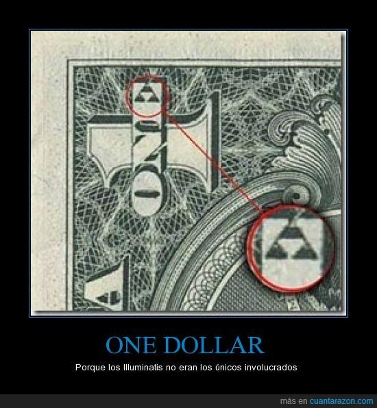 illuminati,one dollar,triángulo,trifuerza,un dolar,yo tengo el poder,zelda