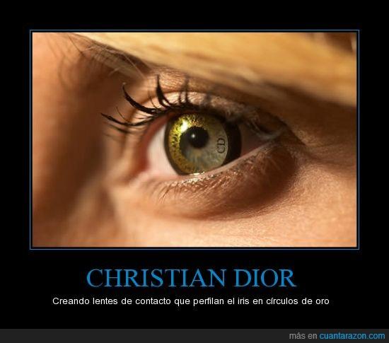 bonito,brillante,christian dior,iris,John Galliano,lentes de contacto,lentillas,lujo,negros,ojos,oro,raro