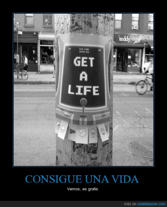 cartel,gamer,get a life,papel,poste,videojuego