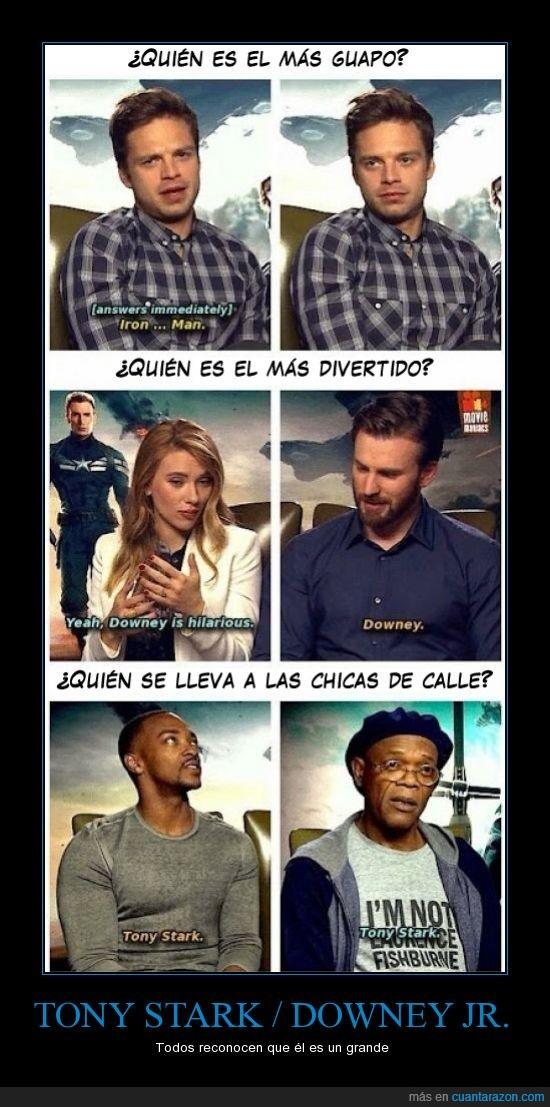 entrevista de Capitán América 2,gran persona,Iron Man,mejor actor,Tony Stark