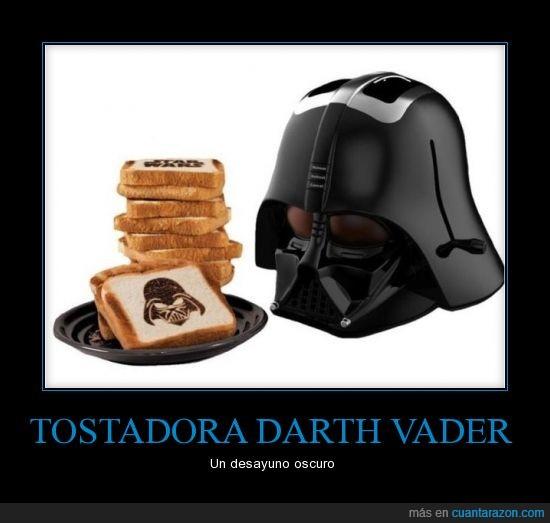 comer,Darth Vader,desayuno,grabar,imagen,lado oscuro,tostadora