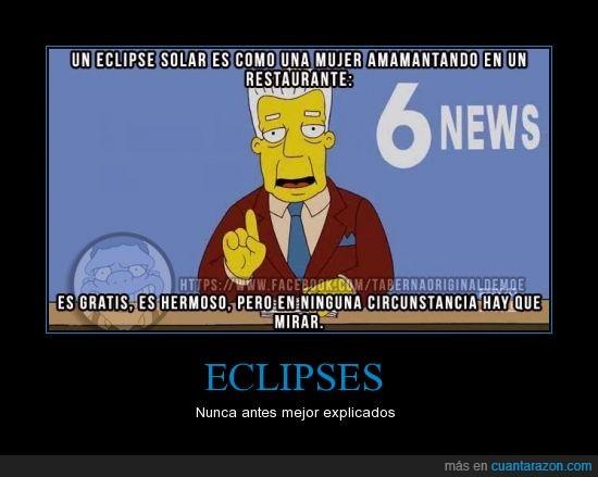 bebe,eclipses,Kent,mirar,mujer,no se debe,restaurante,simpsons
