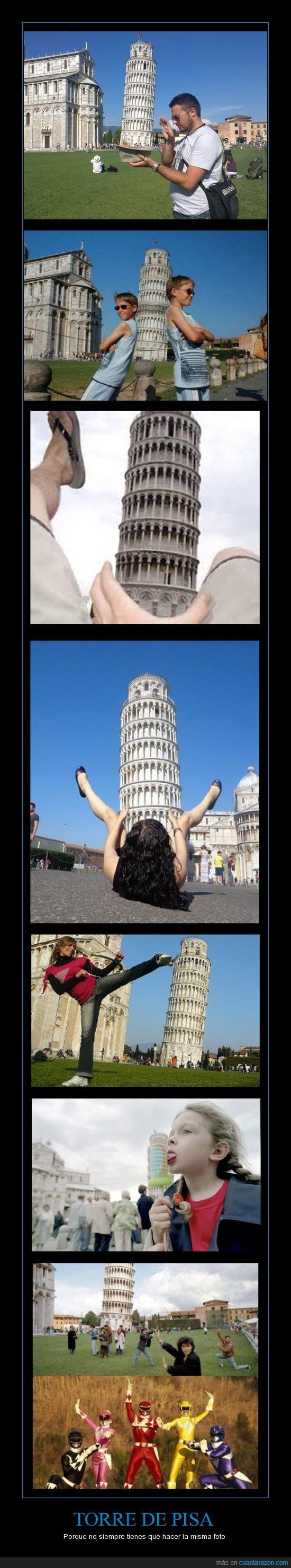 fotos,originales,power rangers,siempre la misma pose,Torre de Pisa
