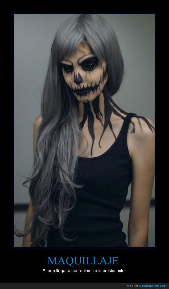 cadaver,calavera,chica,esqueleto,gris,maquillaje,miedo,negros,ojos,pelo,peluca,zombie