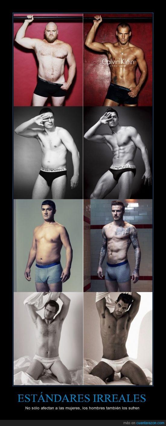 beckham,cristiano ronaldo,gran diferencia,hombre modelo,hombre promedio,modelo,publicidad,relleno calzoncillil
