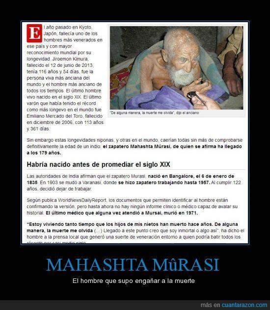 179 años,anciano,edad,hombre,Mahashta Mûrasi,muerte,viejo
