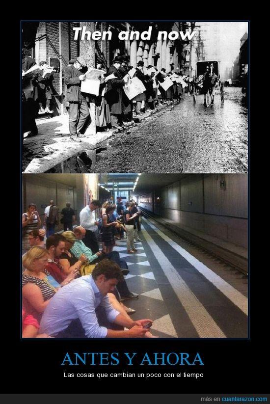 autobus,calle,esperar,metro,mirando,mirar,movil,parada,periodico