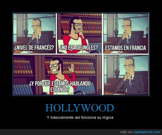 cambiar,español,frances,hablar,hollywood,idioma,ingles