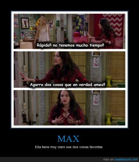 agarrar,ames,amor,Caroline,cosas,dos,dos chicas sin blanca,Max,serie,two broke girls