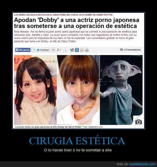 actriz,cirujia,dobby,fea,harry potter,parecido razonable,rina nanase,¿le habra gustado el resultado?