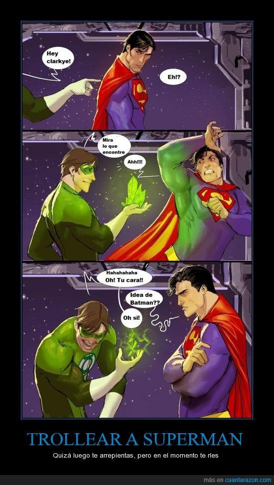 anillo,batman,broma,chistoso,heroes,idea de batman,kriptonita,linterna verde,super hombre,superman,troll