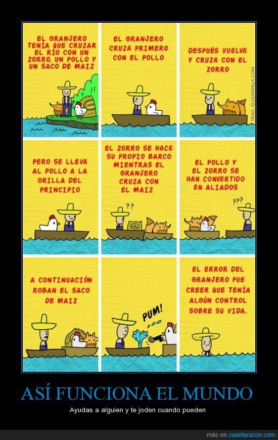 así no,barcas,barco,contra,granjero,maíz,mundo,poder,pollo,robar,unir,zorro