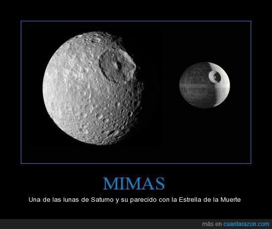 Estrella de la Muerte,la guerra de las galaxias,Luna,nave,parecido,Saturno,star wars
