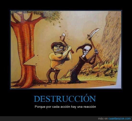 acción,destrucción,destrucción del planeta,leñador,muerte,reacción