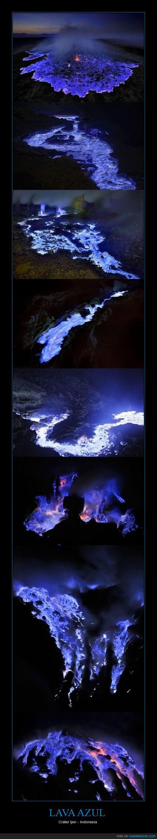 azul,cráter,fuego,Indonesia,lava,volcan