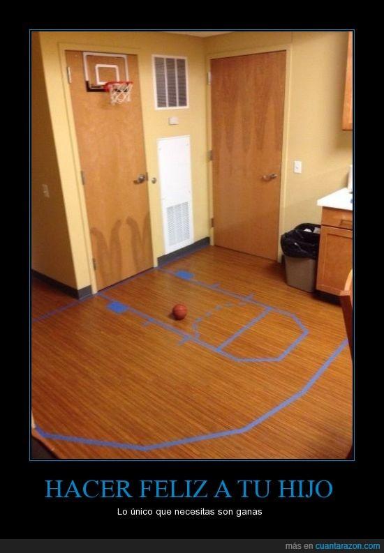 baloncesto,basket,canasta,cinta aislante,cocina,Feliz,ganas,hijo,jugar