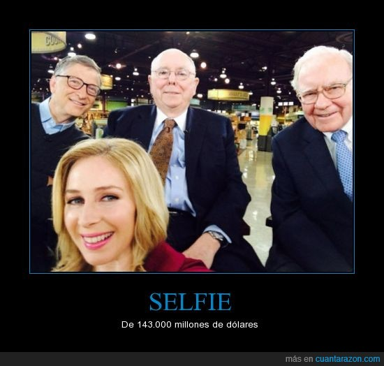 becky quick,bill gates,Charlie Munger,millonarios,selfie,warren buffet